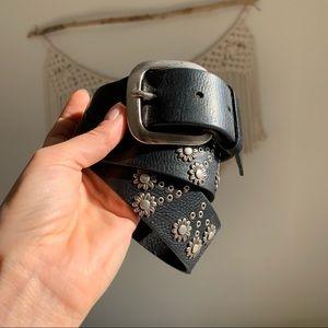Vintage Leather Silver Studded Belt